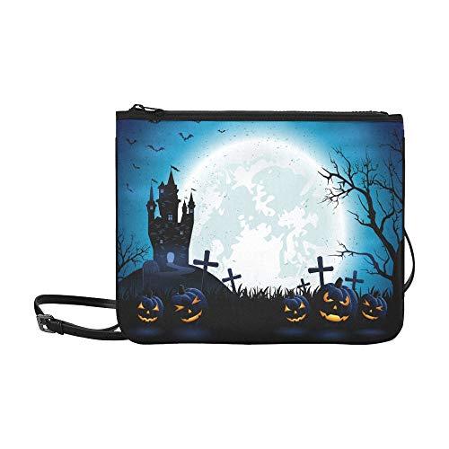 Halloween Pumpkins Dark Castle On Blue Pattern Custom High-grade Nylon Slim Clutch Bag Cross-body Bag Shoulder Bag -