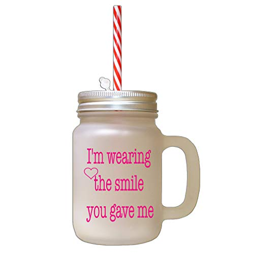 Style In Print Hot Pink I Love You More Than My Phone Frosted Glass Mason Jar with Straw