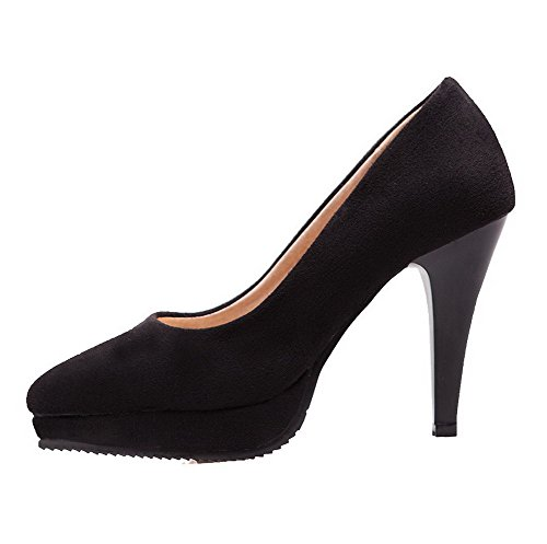Toe Shoes Black Pumps Heels Women's Solid Closed Pull High On 36 Frosted AmoonyFashion wvEPxqUvC