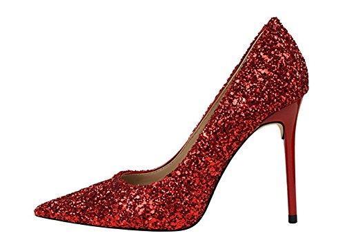 Sexy Rouge Bout Escarpin Mode Chaussure Soirée Aiguille wealsex Mariage Talon Club Haute Paillette Pointu Femme RUCq6x
