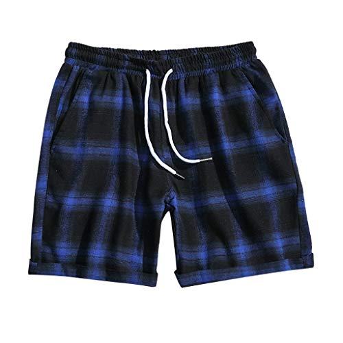 iCODOD Men's Shorts Fashion Casual Swim Trunks Lattice Leisure Wide Sport Plaid Slim Pants Beach Board Shorts Blue 2XL