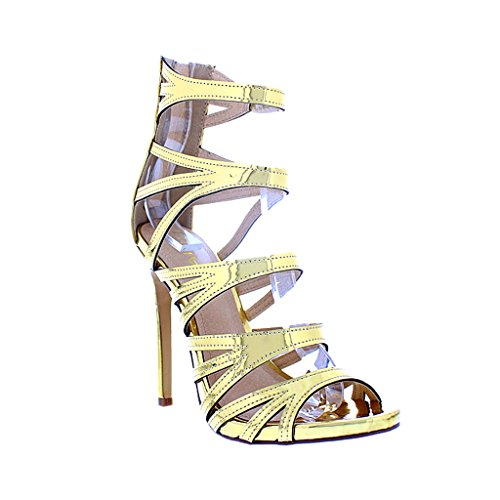[Liliana Strappy Cutout Open Toe High Stiletto Heels Faux Leather Jesse-206(Gold 9)] (Clunky Heels)
