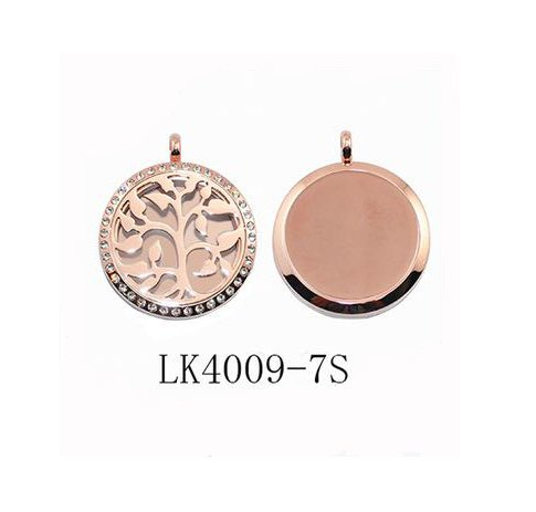Family Tree of Life Essential Oil Perfume Aromatherapy Diffuser Locket Pendant Necklace Silver or Rose Gold with Crystal Border (Rose Gold Tree of life crystals rose gold back)