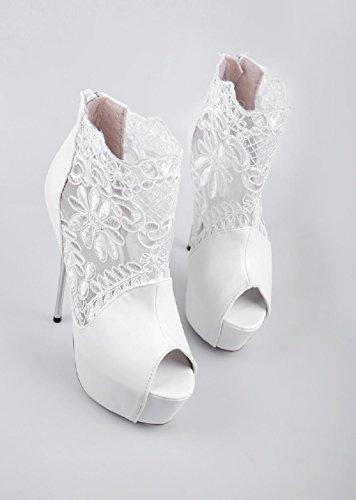 D2c Beauté Femmes Plate-forme En Cuir Dentelle Super Talons Peep Toe Sandales Stiletto Blanc