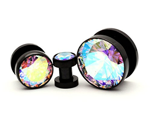 Mystic Metals Body Jewelry 316L Black Stainless Steel Screw on Plugs with Single Press Fit Multicolored CZ gauges (PS-126) - Sold as a Pair (8g (3mm))
