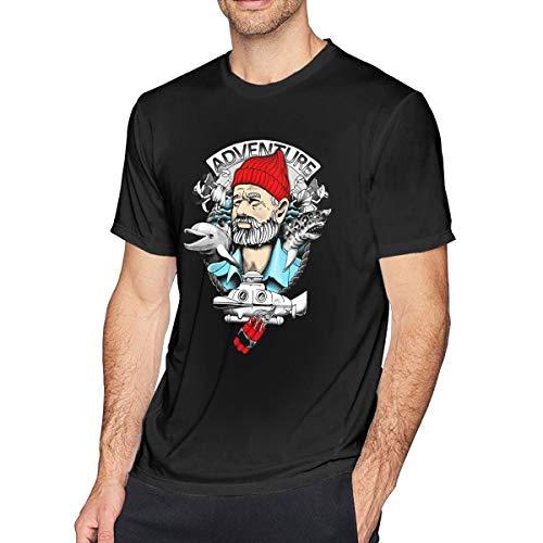 Fional Men's Crew Neck T-Shirt The-Life-Aquatic-with-Steve Cotton Casual