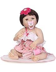 دمية طفل حديث الولادة من ديكديل 55.88 سم من الفينيل الناعم بالكامل من السيليكون الناعم، لعبة منزلية للأطفال في سن 3 سنوات فما فوق مع فستان وردي