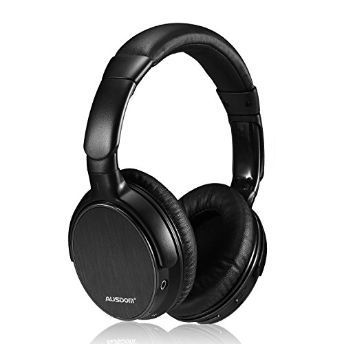 Ausdom Lightweight Stereo Wired Wireless Headset Bluetooth 4.0 EDR Over Ear Audiophile Headphones, Deep Bass with Microphone and Volume Control for PC Mac Computers Cell Phones – Black