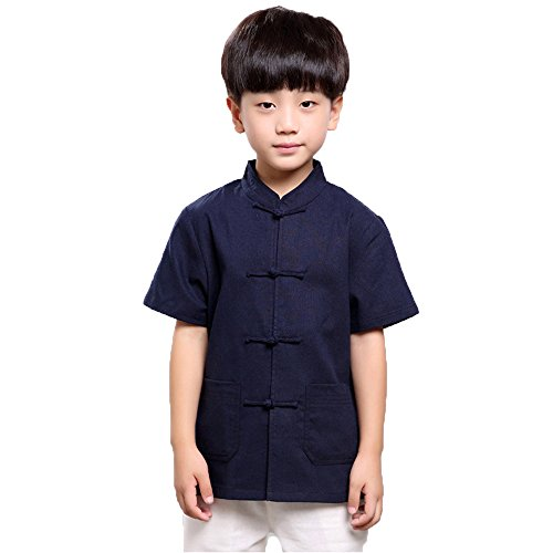 Ethnic Chinese Costume (FangNer Childs Boys Summer Costumes Kung Fu Short-Sleeved Shirt Chinese Ethnic Performance Tang Suit)