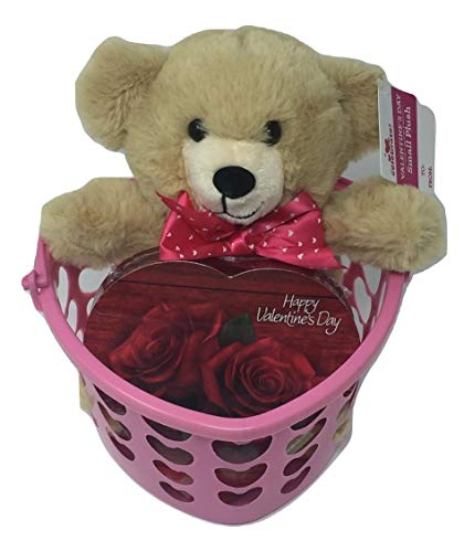 Valentine Gift Set - Tan Teddy Bear, Heart Shaped Box of Chocolates in Pink Heart Shaped Reusable Container - 3 Items