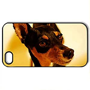 Miniature_Pinscher_-Zwergpinscher_Min_Pin- - Case Cover for iPhone 4 and 4s (Dogs Series, Watercolor style, Black)