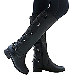 Meilidress Women Boots Winter Tall Riding Leather Strappy Flat