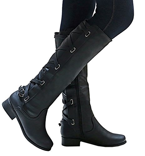 Women Boots Winter Tall Riding Leather Strappy Flat by (Women Black Boots)