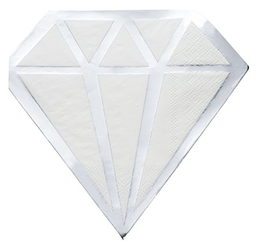 Cocktail Napkins - 50-Pack Luncheon Napkins, Disposable Paper Napkins Party Supplies, 2-Ply, Diamond Die-Cut Shaped Design with Silver Foil, Folded 6.2 x 6.2 inches