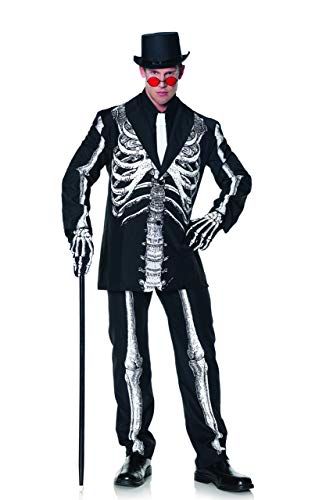 Male Skeleton Halloween Costume (Underwraps Men's Plus-Size Bone Daddy Skeleton Suit Costume, Black & White,)