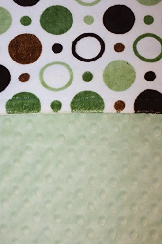 Minky Blanket - Baby Blanket, Toddler Blanket, Child Blanket - Green, Brown Circles and Polka Dots with Sage Dot Minky ()