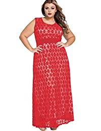 Women's Sleeveless Lace Floral Evening Formal Maxi Dress with Belt Plus Size