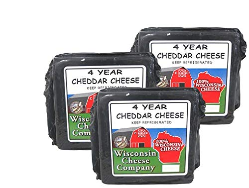 (WISCONSIN CHEESE COMPANY - 100% Wisconsin Cheese - 4 YEAR OLD AGED YELLOW CHEDDAR - (3) 7.75 oz Blocks - Discriminating Cheese Lovers first choice)