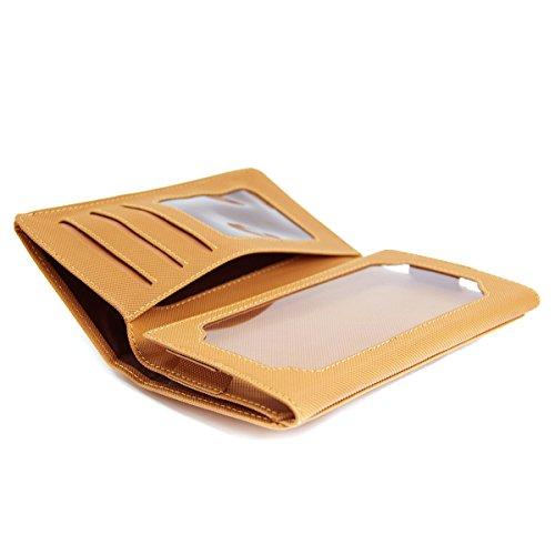 Bi-fold Univeral Textured Men's Wallet Case Fits Archos 45 Platinum, 50 Helium 4G, 50 Platinum, 50b Helium 4G, Elements 53 Platinum ::TAN::