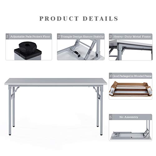Sunon Folding Training Table 55'' Rectangle Wood Folding Table for Training/Meeting Room (White, 55-Inch Length) by Sunon (Image #2)