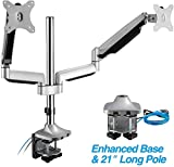 AVLT-Power 32' Dual Gaming Monitor Stand | Universal Pole Computer Desk Stand with Extra Long Mount | Swivel Two 20 lbs Computer Monitors on 2 Full Motion ● Adjustable Arms Ergonomic Angle VESA Mount