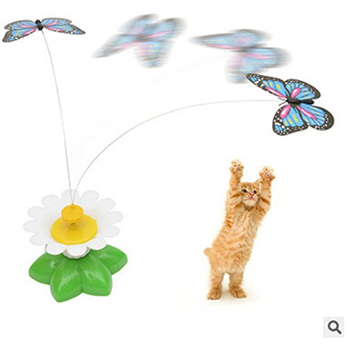 Hisoul Cat Teasing Toy, Electric Mute Training Cat Toy Kitten Rotating Seat Butterfly, Fun Playing Interactive Smart Game Pet Toy for Medium and Large Dogs (A)
