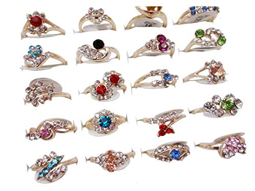 AIHIQI Fashion Wholesale Lots 100pcs Colorful Rhinestone Ring for Women Girl Gift