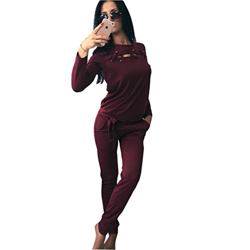Womens Sexy Hollow Out Hole Long Sleeve 2 Piece Set Sportswear