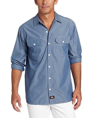 Men's Big Long Sleeve Chambray Shirt Tall
