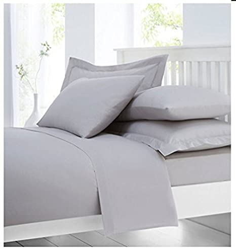 Cotton Comfort 100% Egyptian Cotton 300 Thread Count Fitted Sheet, Grey, Small  Double