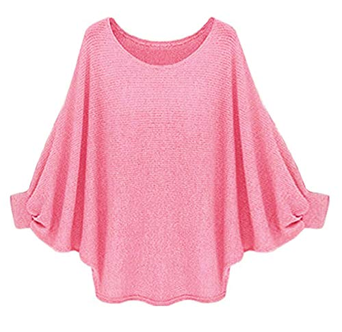 Suimiki Women's Batwing Sleeve Loose Blouse T Shirt Casual Pullover Top Pink X-Large