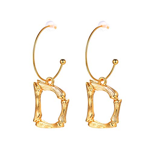 FOCALOOK Letter Charm Bamboo D Dangle 18k Gold Plated Round Hoop Drop Initial Earrings for Women -