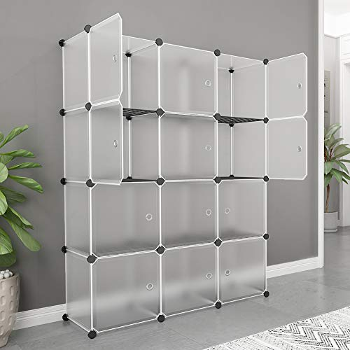 MAGINELS Portable Storage Shelf Cube, Plastic Cubby Shelving Drawer Unit in Bedroom Living Room,DIY Modular Bookcase Closet System Cabinet with Translucent Design for Clothes, Shoes, Toys(12-Cube) ()