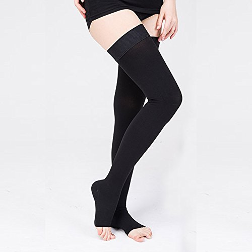 Mens Firm Support Socks (Compression Sock for Men & Women, Thigh High Stockings, Firm Support 20-30 mmHg Gradient Compression with Silicone Band - Treatment Swelling, Varicose Veins, Edema, Boost Recovery (L, Black(open)))