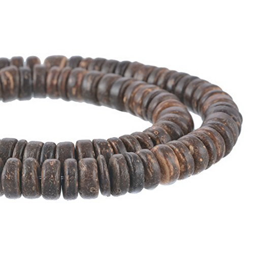 Souarts Brown Color Oblate Shaped Coconut Shell Beads 8mm Pack of 4 - Coconut Jewellery Shell