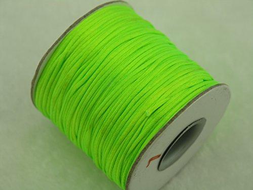 - KONMAY 80 Yards 1.0MM Rattail/Bugtail Satin Silk Cord Shamballa Macrame Beading Nylon Kumihimo String (Neon Green NG)
