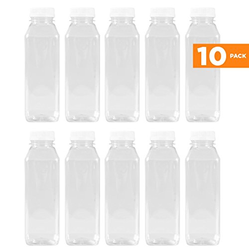 16 Oz Clear Plastic Juice/Dressing PET Square Container w/ White Tamper Evident Caps by Pexale(TM)- (Pack of 10)