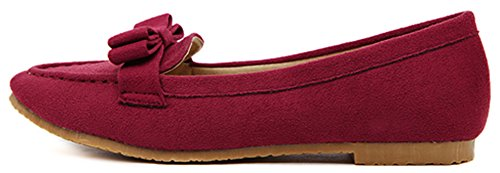 Shoes Difyou Comfy Womens Wine Red Bow Pumps Flat Toe Pointed ZZPpqHw