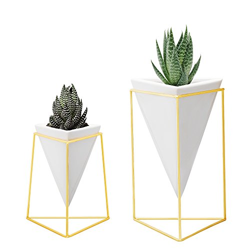 Nellam Modern Geometric Table Vases - Set of 2, 1 x Large, 1 x Small, White Ceramic Porcelain Style Baskets, with Decorative Brass Wire Frames - Accents Blue, Turquoise, and Yellow Flowers (Vase Gold Geometric)