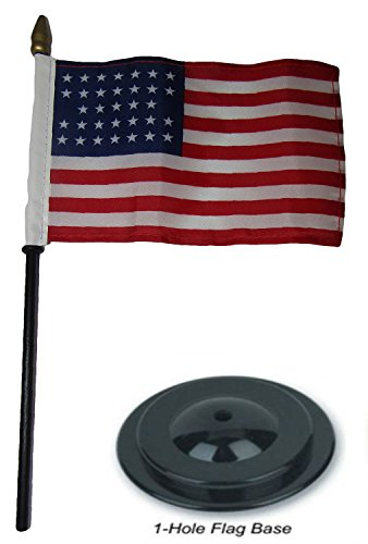 Ncaa Desk Wildcats (ALBATROS 33 Star USA Linear 4 inch x 6 inch Flag Desk Set Wood Table Stick Staff with Black Base for Home and Parades, Official Party, All Weather Indoors Outdoors)