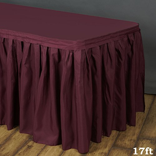 LinenTablecloth 17 ft. Accordion Pleat Polyester Table Skirt Burgundy (Table Skirt Burgundy)