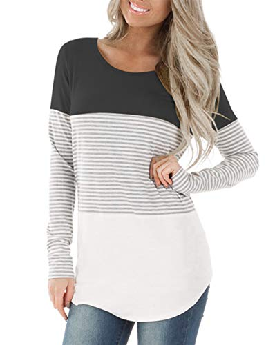 (DREAMLOVER Women Loose Spring Striped Tunic Shirt Casual Long Sleeve Tops Blouse)
