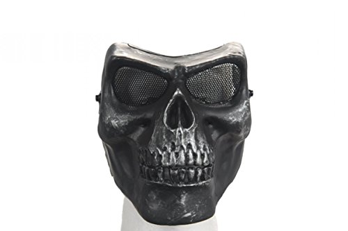 UK Arms Airsoft Mesh Skull Full Face Mask Gen 2 - Silver/Black - Two Face Costume Uk