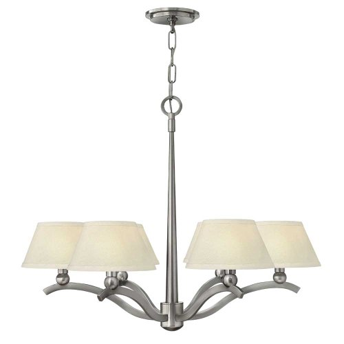 Hinkley 4616BN, Whitney Large Chandelier Lighting with Shades, 6 Light, 360 Watts, Nickel