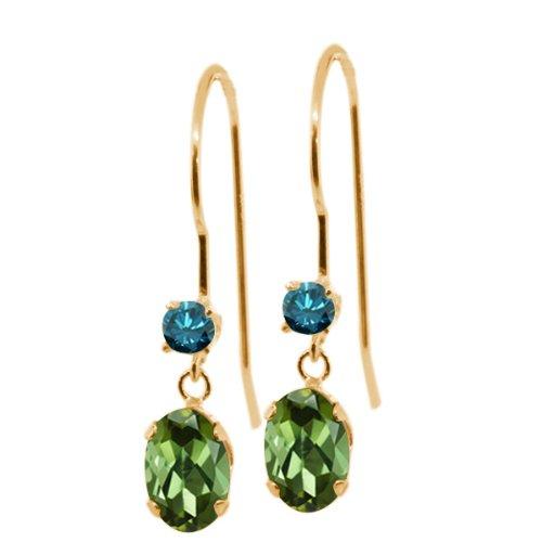 Gem Stone King 0.93 Ct Oval Green Tourmaline Blue Diamond 14K Yellow Gold Earrings