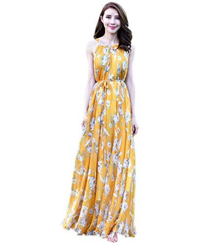 Medeshe Women's Chiffon Floral Holiday Beach Bridesmaid Maxi Dress Sundress (Large Petite, Yellow -