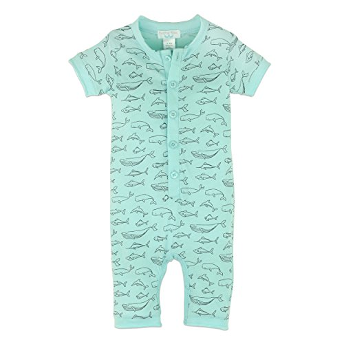 Feather Baby Boys Clothes Pima Cotton Short Sleeve Henley One-Piece Shortie Romper