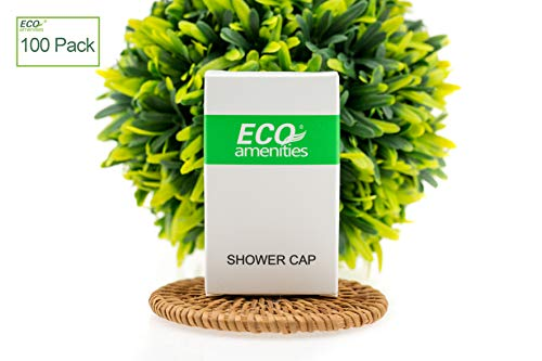 ECO Amenities Disposable Clear Shower Caps, Individually Wrapped Paper Box, Full Size Adult, 100 Caps per Case by ECO Amenities