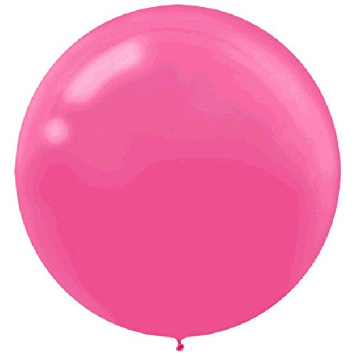 Amscan Party Perfect Round Latex Balloons Decoration, Saver Pack of 4 (Each Includes 4 Pieces), Bright Pink, 24''