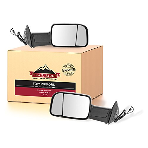 (Trail Ridge Tow Mirror Power Folding Heated Signal Puddle Black Pair Set for Ram)